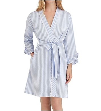 Eileen West Blues Sateen Short Wrap Robe