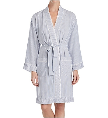 Eileen West Indigo Stripe Short Wrap Robe