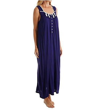Eileen West Blue Flower Sleeveless Ballet Nightgown