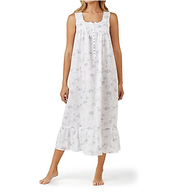 Eileen West Grey Floral Cotton Lawn Sleeveless Nightgown