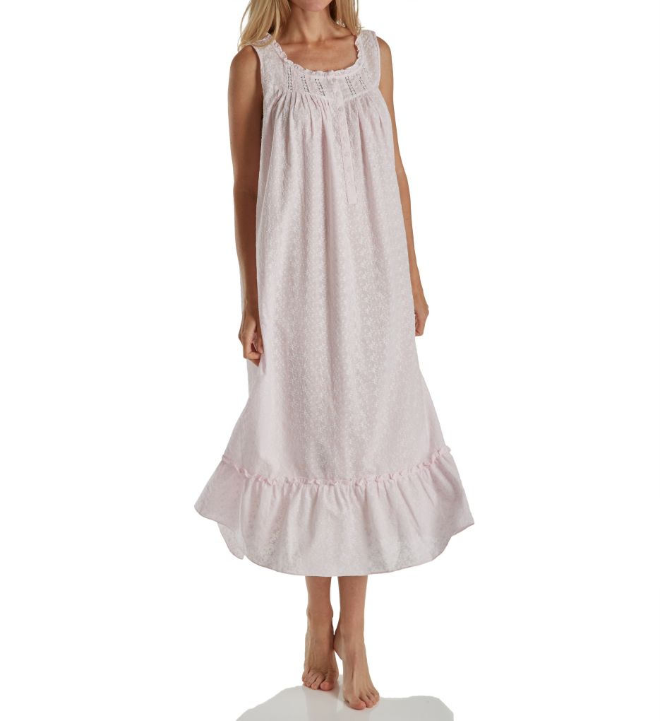 Eileen West Floral Embroidery Cotton Lawn Sleeveless Nightgown