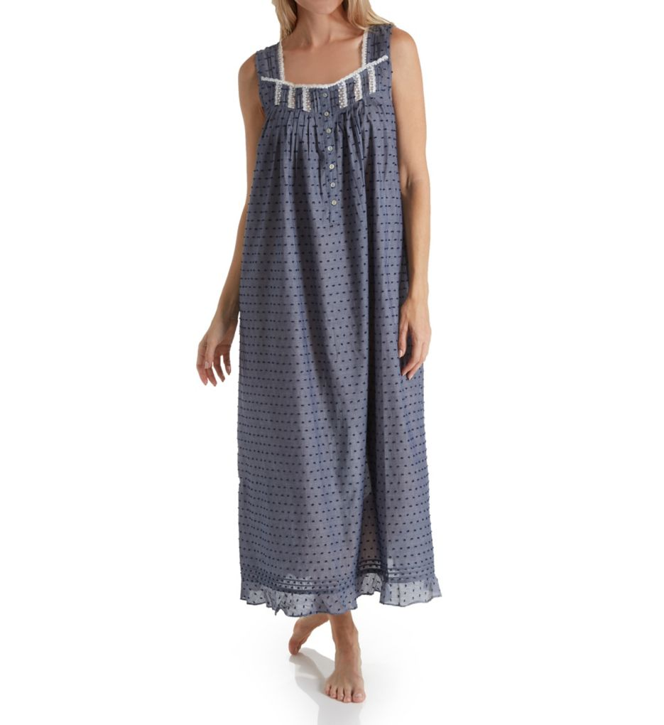Eileen West Swiss Dot Cotton Lawn Chambray Sleeveless Gown