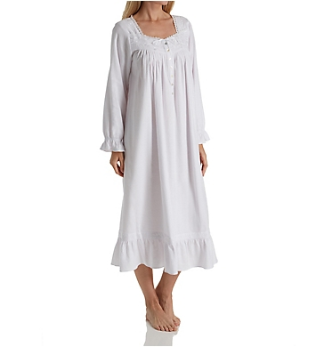 Eileen West White Floral Embroidered Flannel Ballet Nightgown