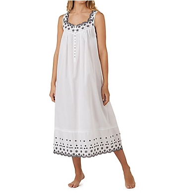 Eileen West Eyelet Floral Sleeveless Ballet Nightgown