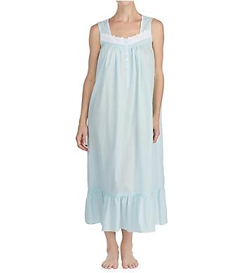 Eileen West Autumn Teal Sheer Stripe Clip Dot Ballet Nightgown