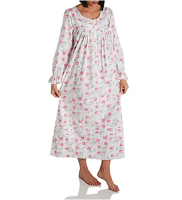 Eileen West Cotton Flannel Long Sleeve Long Gown