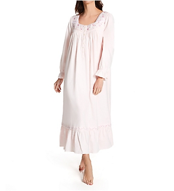 Eileen West Cotton Flannel Embroidered Long Sleeve Long Gown