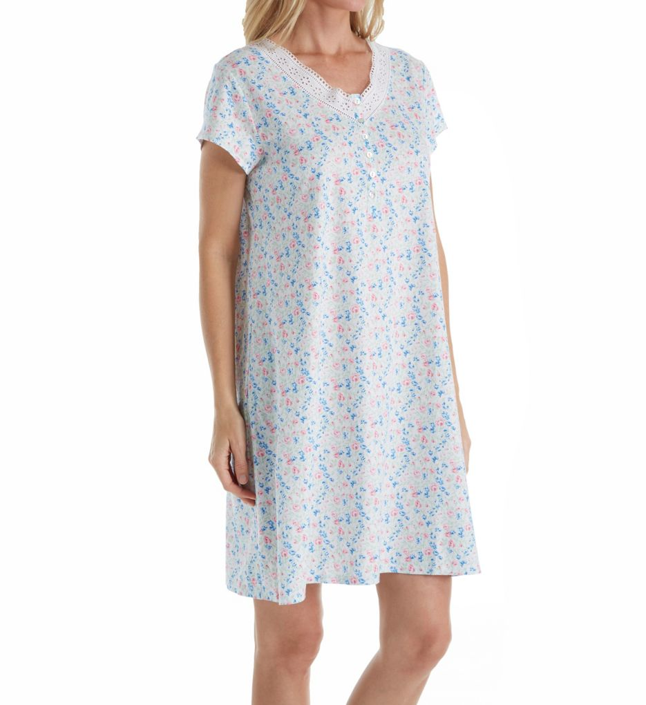 Eileen West Daisy Cotton Jersey Nightshirt