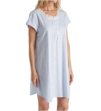 Eileen West White Geo Cotton Jersey Short Nightgown