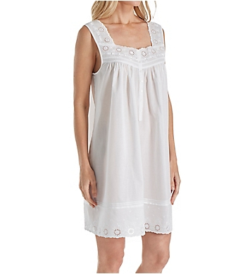 Eileen West Embroidered Cotton Short Chemise