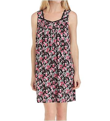 Eileen West Black Floral Short Gown
