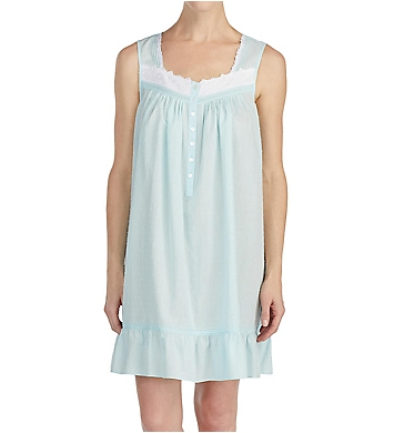 Eileen West Autumn Teal Sheer Stripe Clip Dot Short Chemise