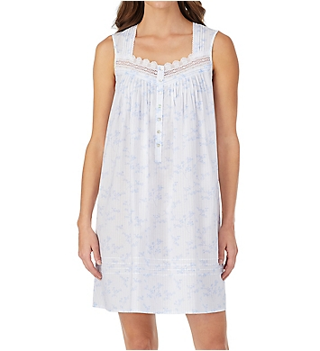 Eileen West Floral Stripe Cotton Lawn Short Chemise