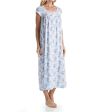 Eileen West Blue Floral Jersey Ballet Nightgown