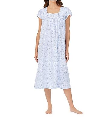Eileen West Blue Leaf Cap Sleeve Ballet Nightgown
