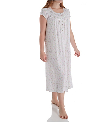 Eileen West 100% Cotton Jersey Cap Sleeve Long Gown