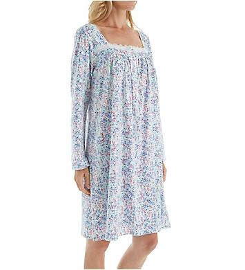 Eileen West Floral Long Sleeve Jersey Short Nightgown