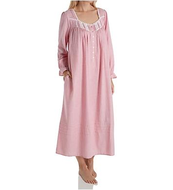 Eileen West Flannel Stripe Long Sleeve Ballet Nightgown