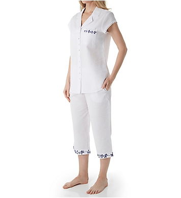 Eileen West Indigo Scroll Seersucker Notch Collar Capri PJ