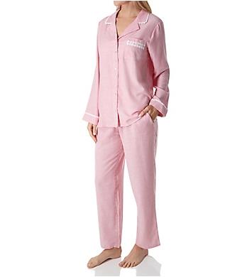 Eileen West Flannel Stripe Long Sleeve Button Front PJ Set