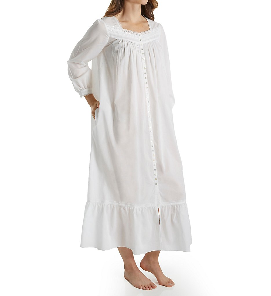 Vintage Inspired Nightgowns, Robes, Pajamas, Baby Dolls Eileen West 5816154 Charming Ballet Front Coat White XL $74.00 AT vintagedancer.com