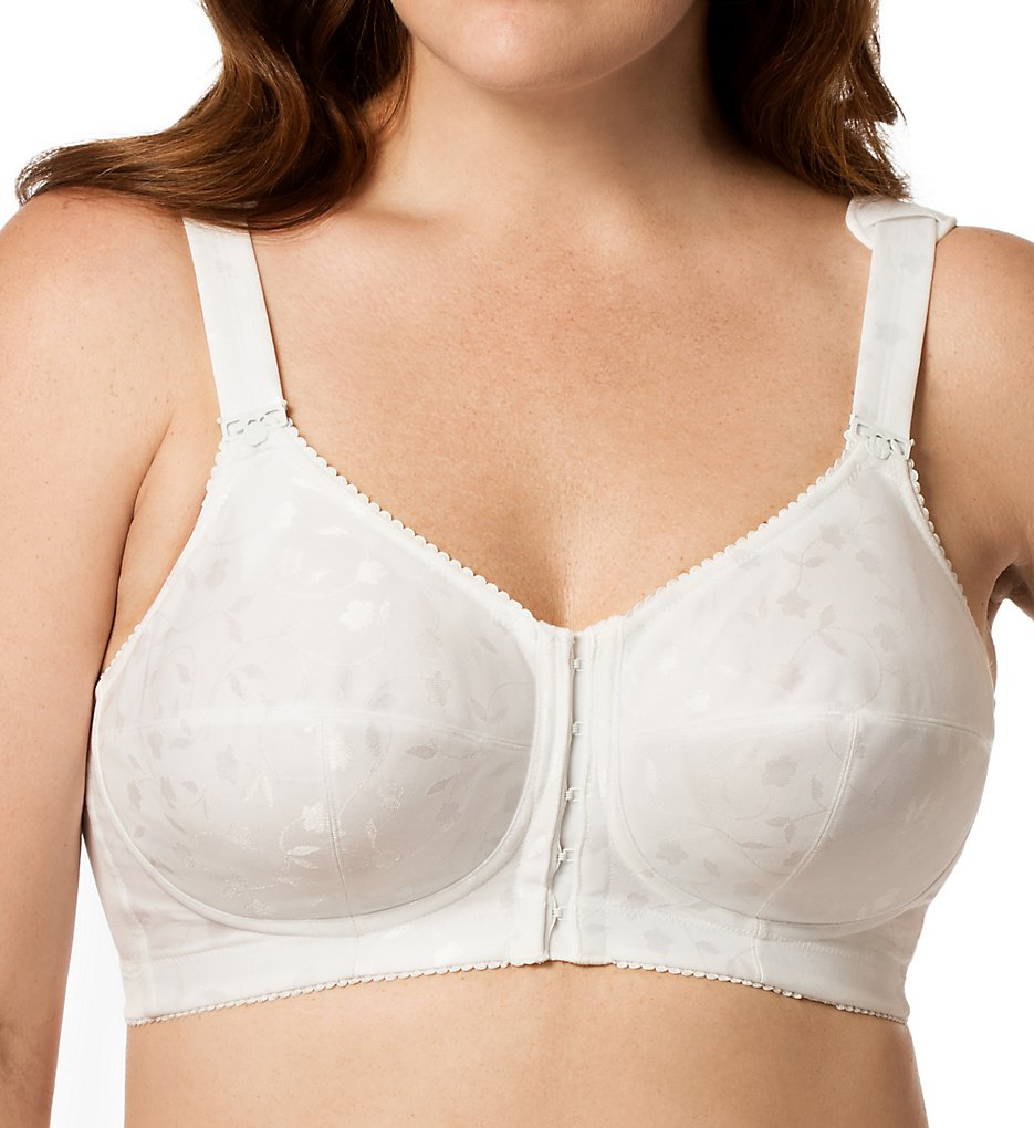 Elila 1515 Jacquard Front Close Softcup Bra (White)