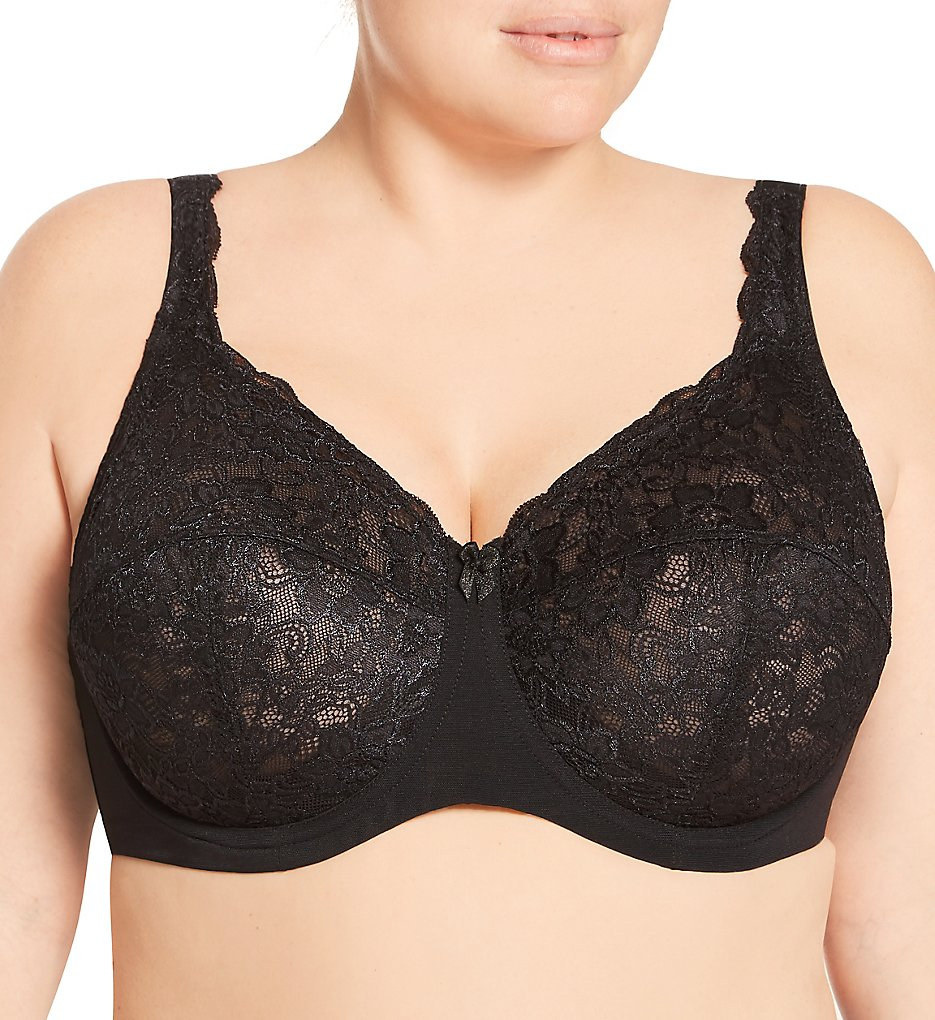 Elila - Elila 2311 Full Coverage Stretch Lace Underwire Bra (Black 36F)