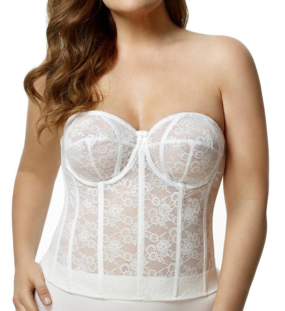 Elila 6621 Lace Strapless Longline Bra (White)