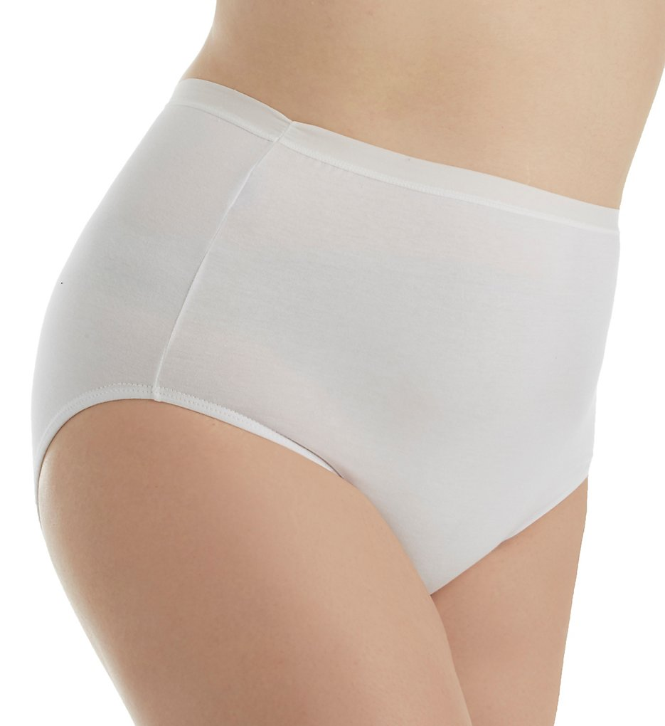 Elita - Elita 6044 Plus Size Cotton Full Brief Panty (White XL)