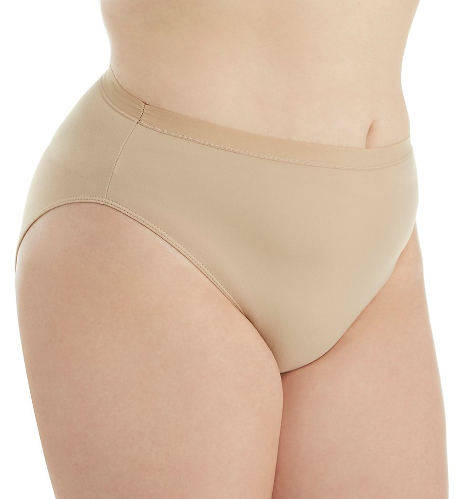 Elita (1957667) - Elita 6142 Plus Size Microfiber Hi-Cut Brief Panty (Classic Beige XL)