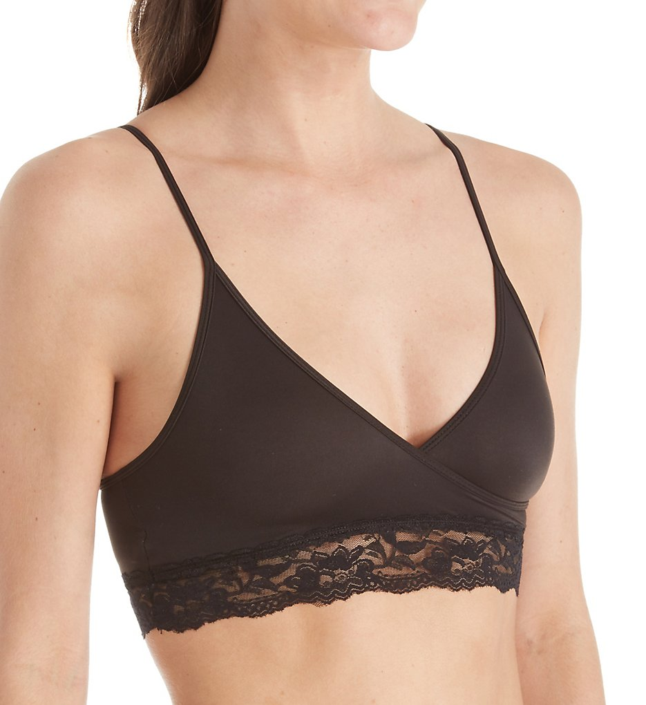 Elita - Elita 8850 Silk Magic Microfiber Crossover Lace Trim Bra (Ebony 32)