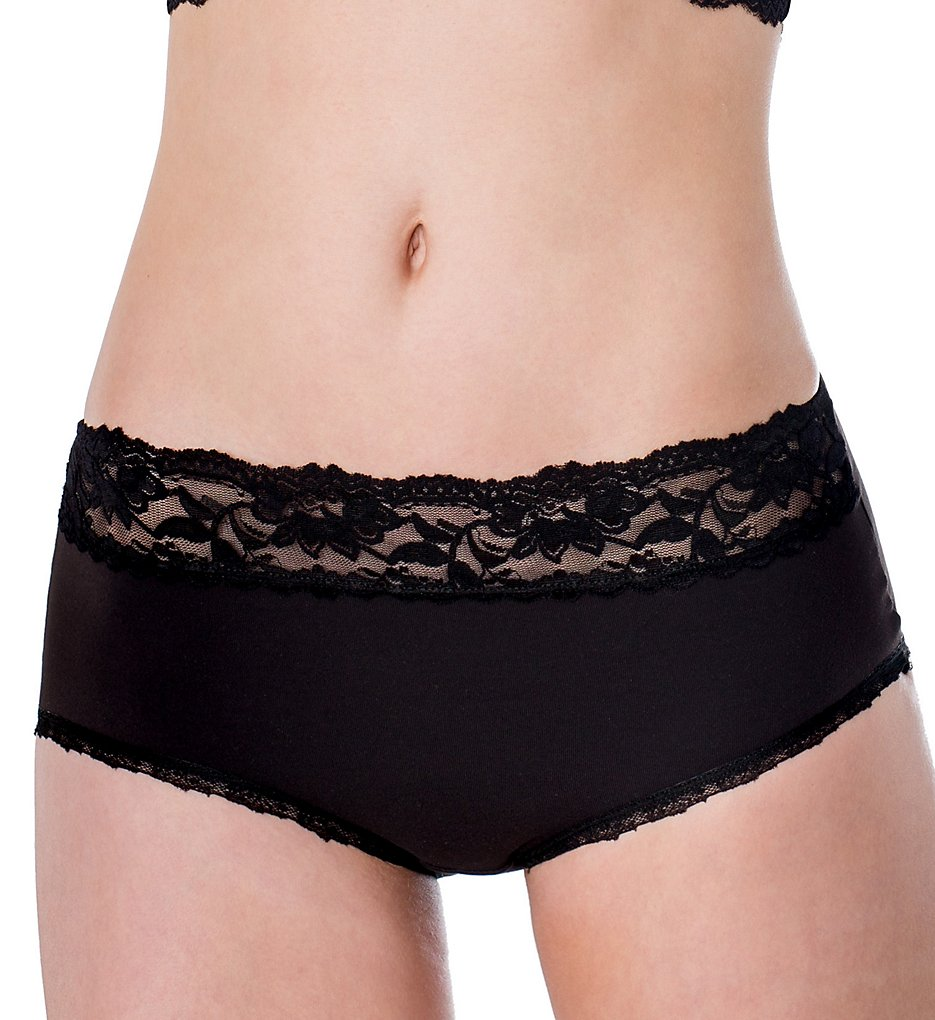 Elita - Elita 8851 Silk Magic Microfiber Hi-Cut Brief Lace Trim Panty (Ebony S)