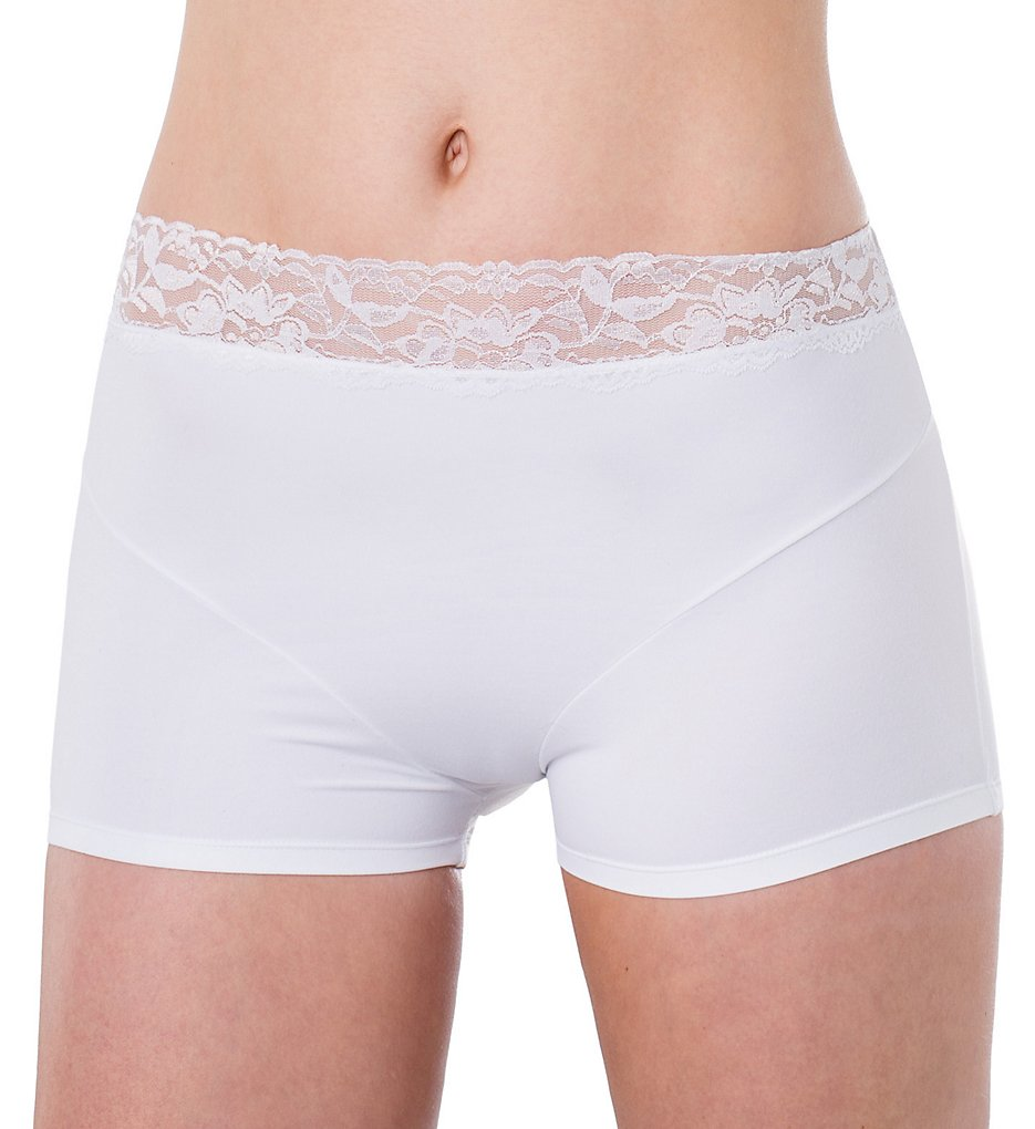 Elita - Elita 8856 Silk Magic Microfiber Lace Trim Boyshort Panty (Porcelain S)