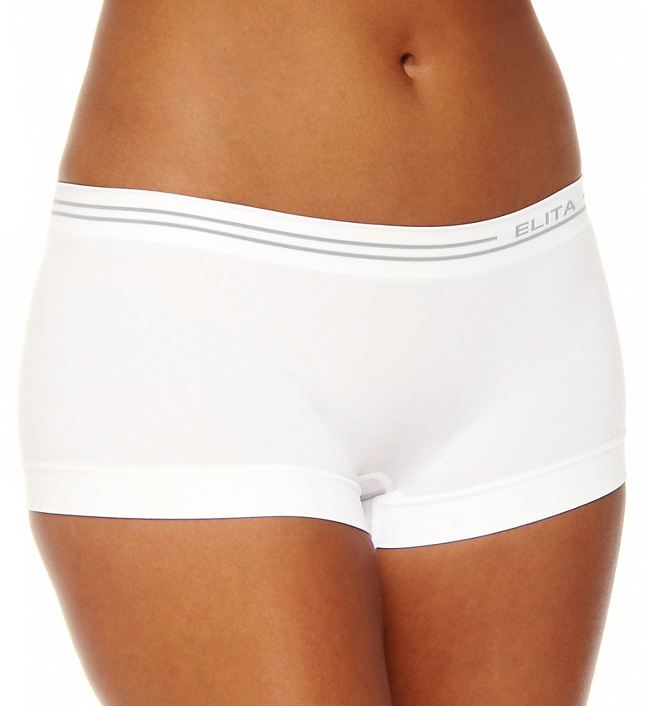 Elita - Elita S816 Signature Seamless Boyshort Panty (White S)