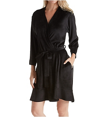Ellen Tracy Essential Velour Short Robe with Headband