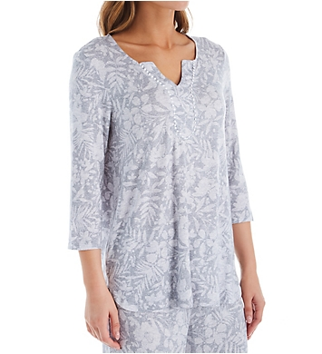 Ellen Tracy Lounge Floral 3/4 Sleeve Tunic Top