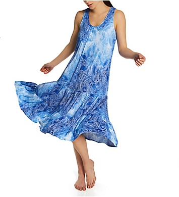 Ellen Tracy Paisley Midi Gown With Soft Bra