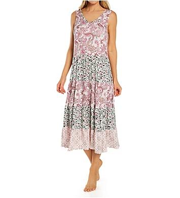 Ellen Tracy Spandex Jersey Sleeveless Midi Gown with Soft Bra