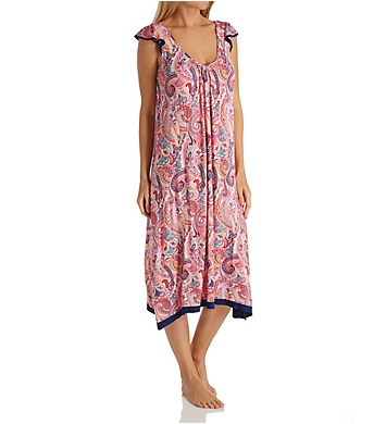 Ellen Tracy Spring Paisley Sleeveless Midi Gown with Soft Bra