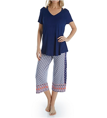 Ellen Tracy Blue Geo PJ Set