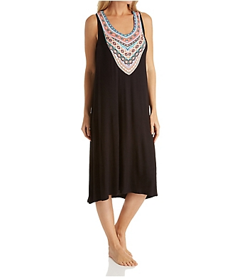 Ellen Tracy Spring Geo Sleeveless Midi Gown with Shelf Bra
