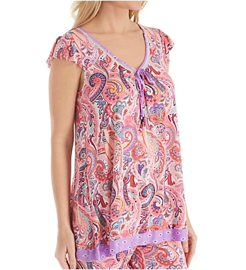 Ellen Tracy Spring Paisley Short Sleeve Top