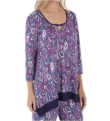 Ellen Tracy Purple Paisley Long Sleeve Top