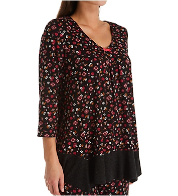 Ellen Tracy Midnight Floral 3/4 Sleeve Top
