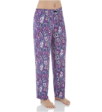 Ellen Tracy Purple Paisley Long Pant