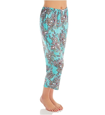 Ellen Tracy Turquoise Damask Cropped Pant