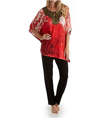Ellen Tracy Medallion Caftan PJ Set