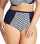 Chevron High Rise Brief Swim Bottom