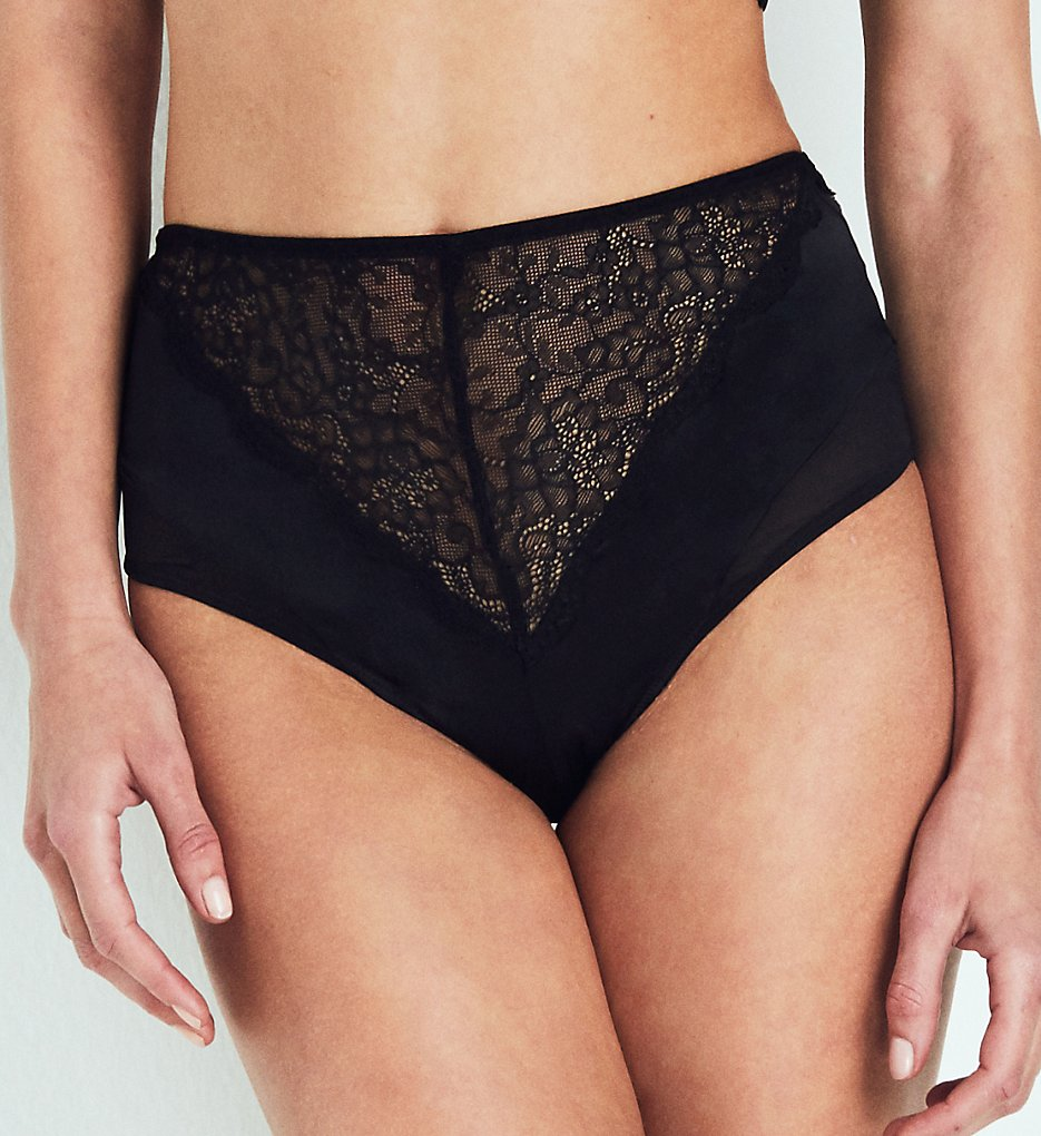 else Lingerie - else Lingerie EC-201U Signature Silk & Lace High Waist Brief Panty (Black S)