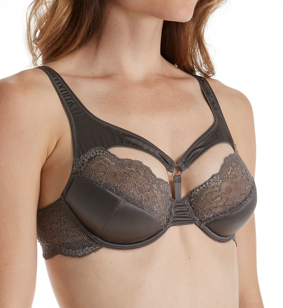 else Lingerie - else Lingerie EC-332B Signature Silk & Lace Lightly Padded Harness Bra (Pewter 30B)